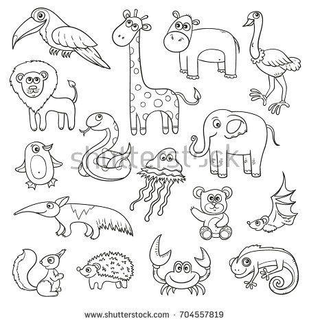 Wild Animals And Birds Cartoon Kids Set Vector Sketches For Coloring Book Sketch Line Art Animal Bird Stickers