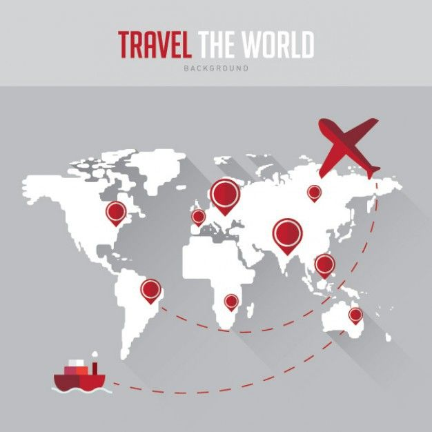 Show your experience soul with the flat traveling world map vector show your experience soul with the flat traveling world map vector in red and white color this new and free traveling vector is perfect for any bold gumiabroncs Gallery