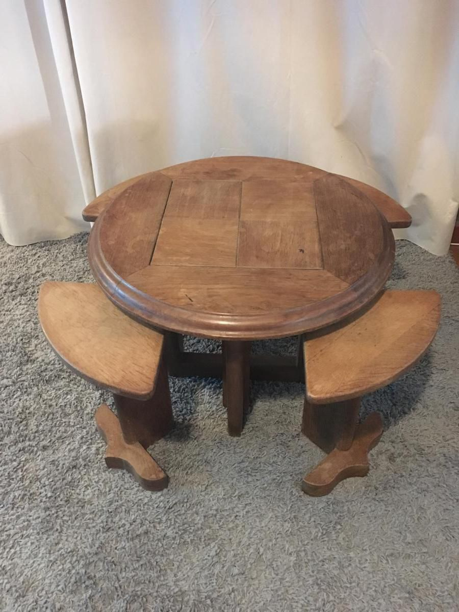 Table Basse 4 Tabourets Guillerme Et Chambron Antiquites Quilichini Proantic Table Basse Tabouret Table