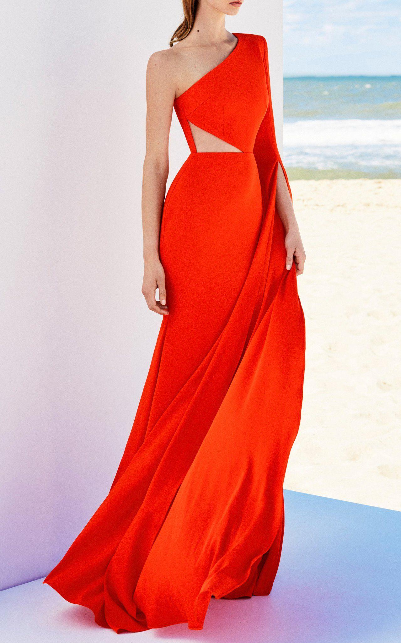Zwangerschapskleding Gala.Ava Satin Crepe One Shoulder Sleeve Gown By Alex Perry Maximillia