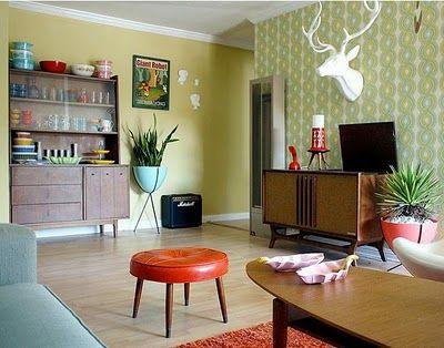 Love The Color Palette In This Retro Inspired Living Room Retro Living Rooms Retro Home Decor Home Decor