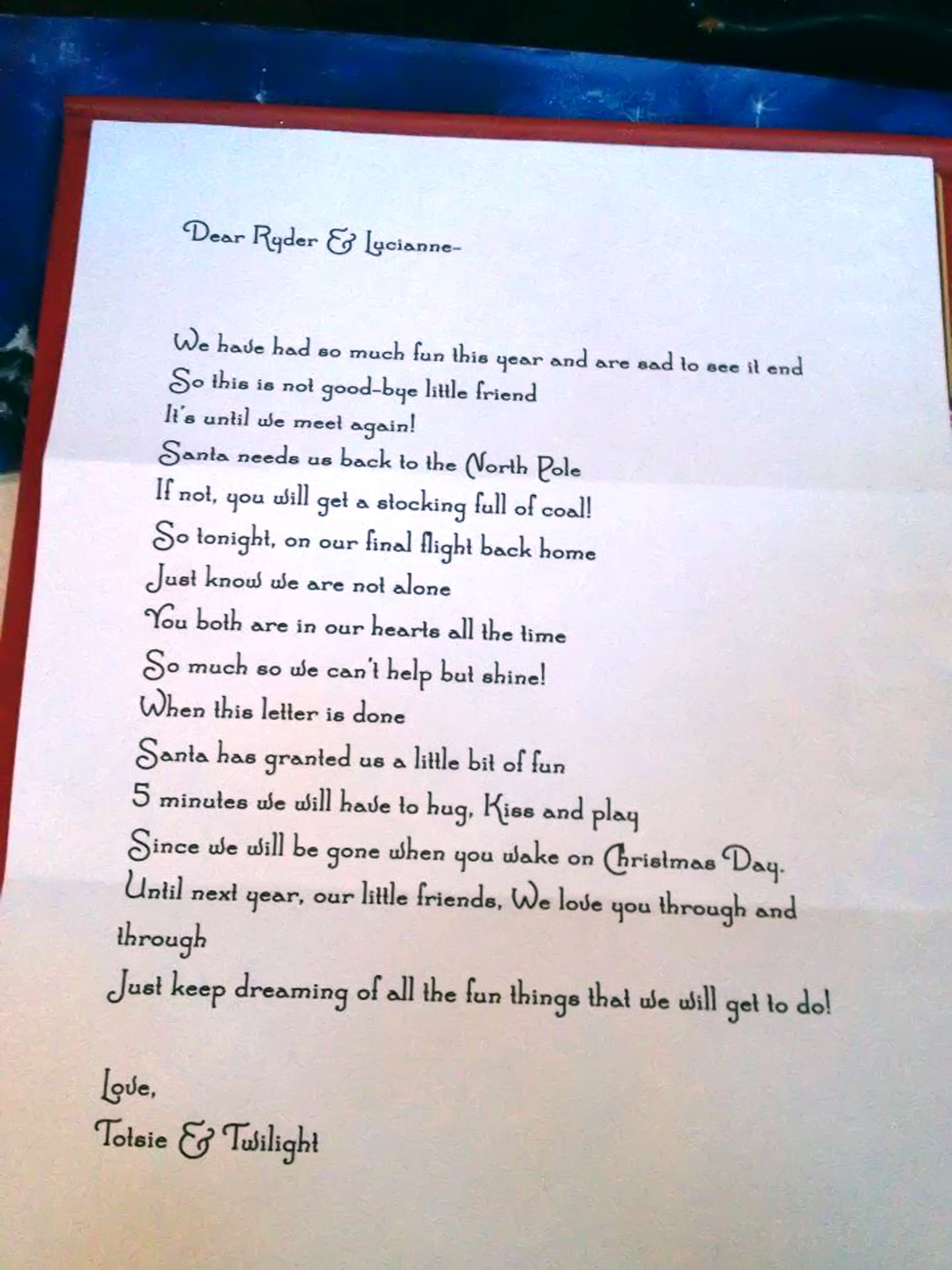 A friend of mine gave me the idea to write my kids a letter to say