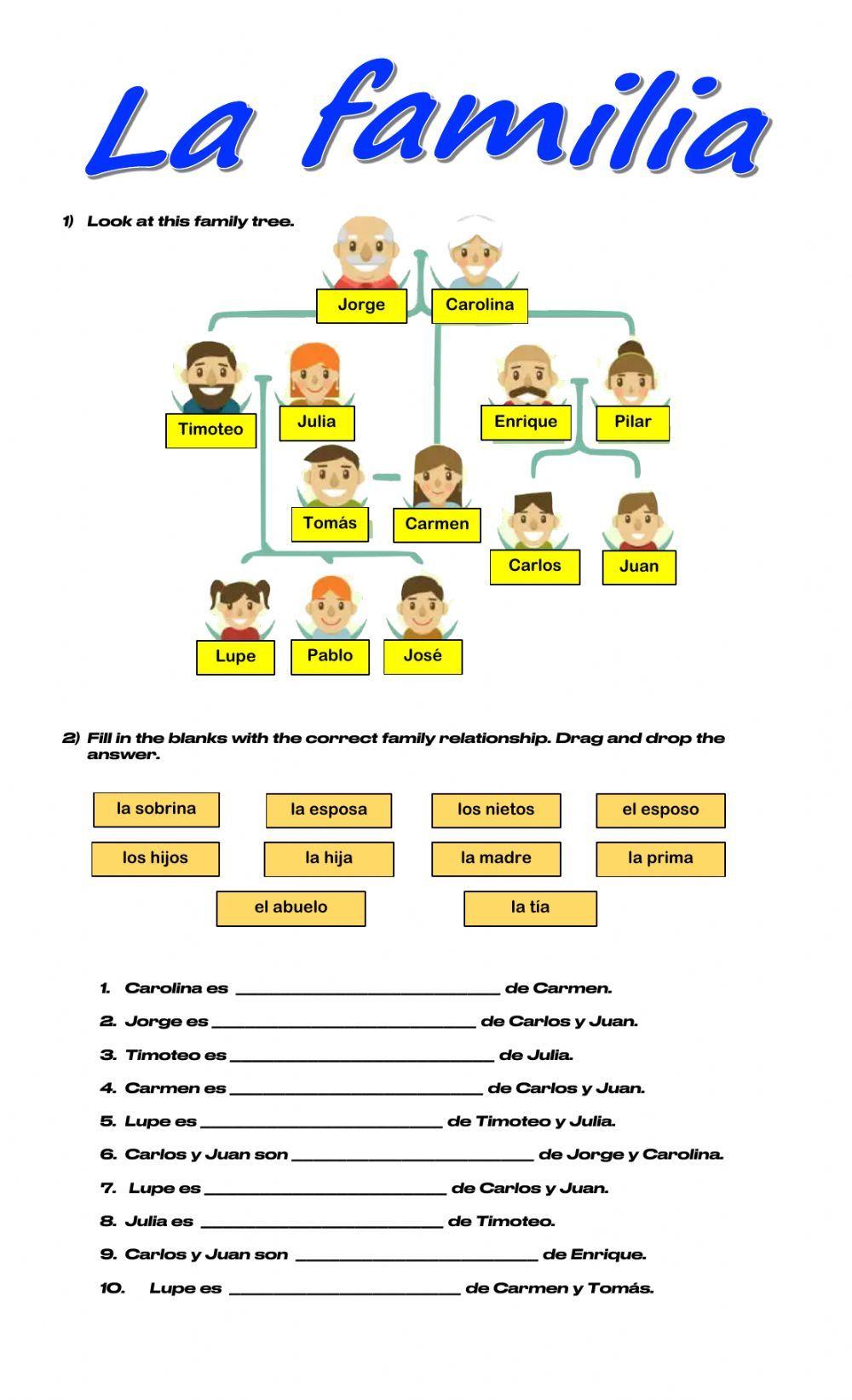 La Familia Online Pdf Worksheet In 2021 Your Teacher School Subjects Online Activities