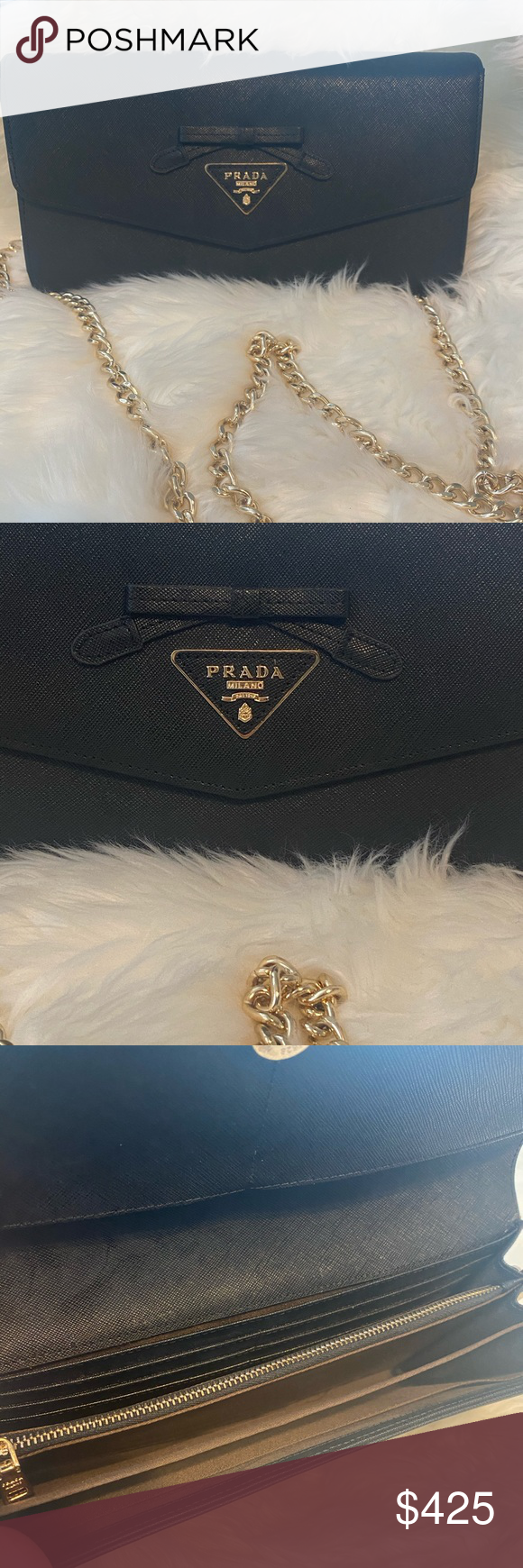 Photo of Prada WOC Large Prada WOC. Cross chain is not original this was added and can be…