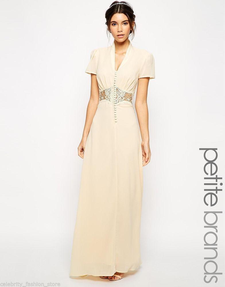 Designer Jarlo Cream Kelly Petite Cap Sleeve Lace Insert Evening ...