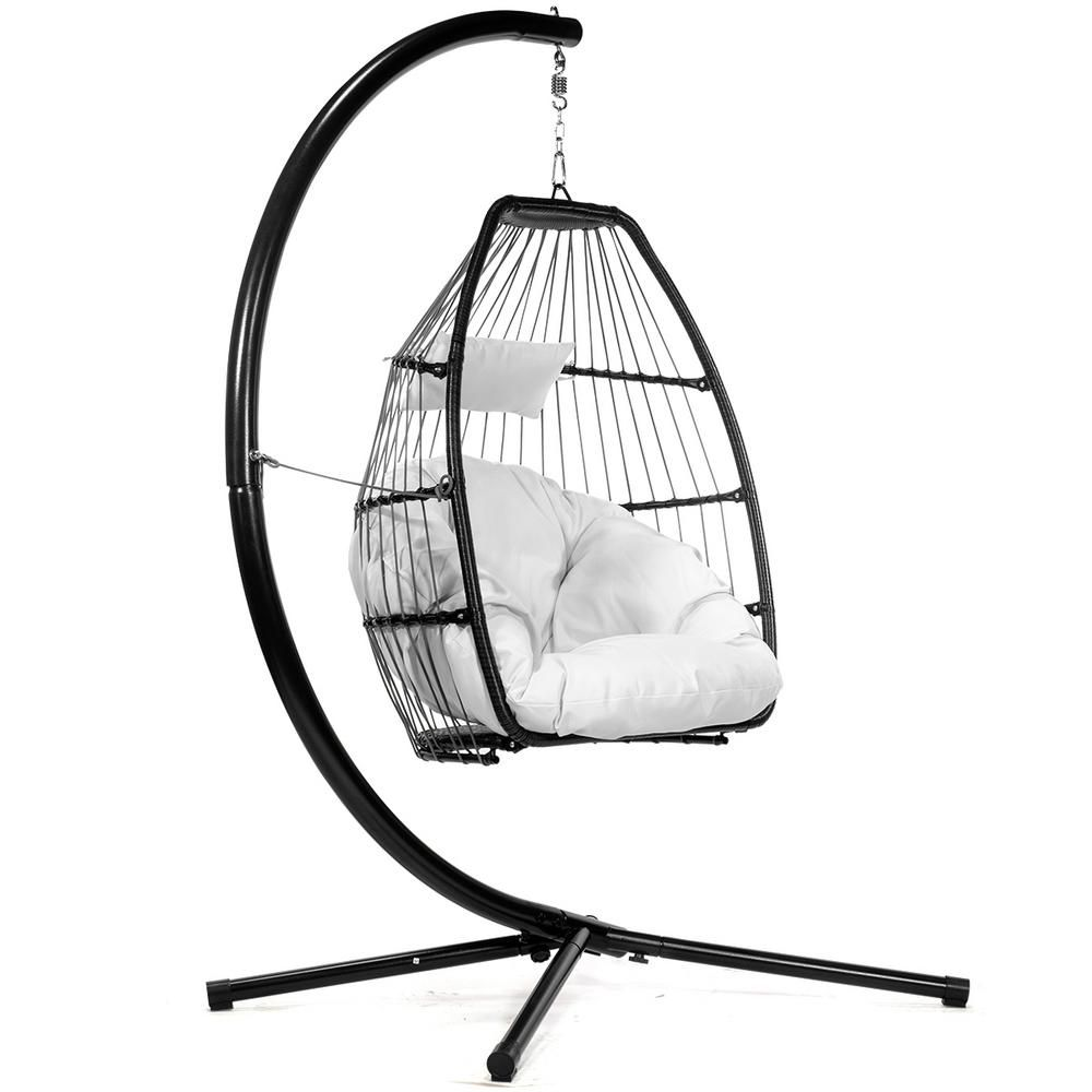 Barton Black Wicker Egg Shaped Patio Swing Chair With Cream