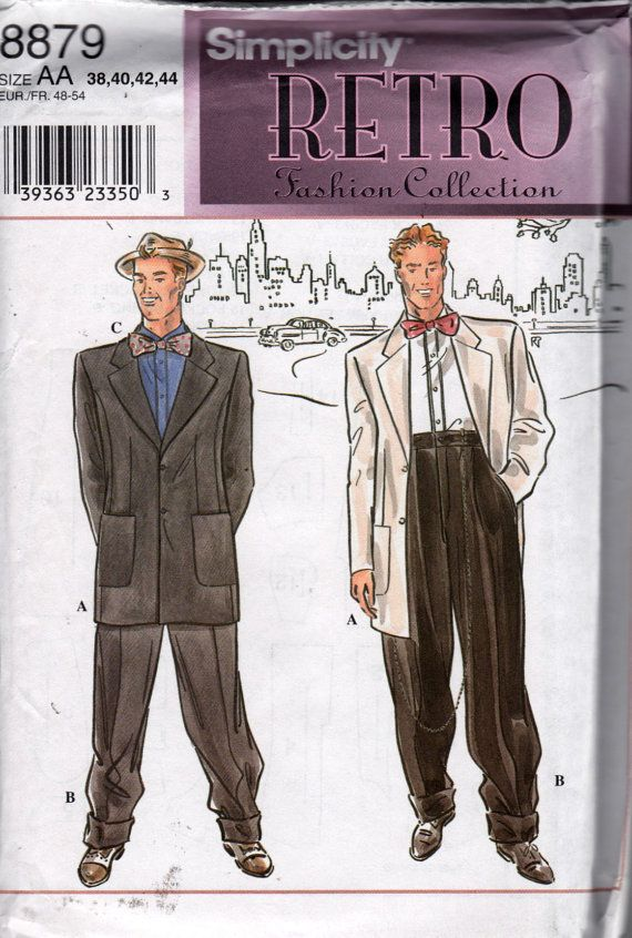 Simplicity 8879 Retro Fashion ZOOT SUIT Mens Jacket Cuffed Pants and ...