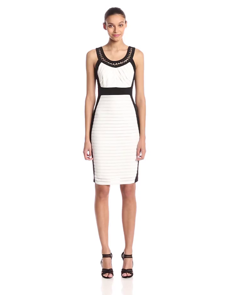 Ivory Black Sheath Dress
