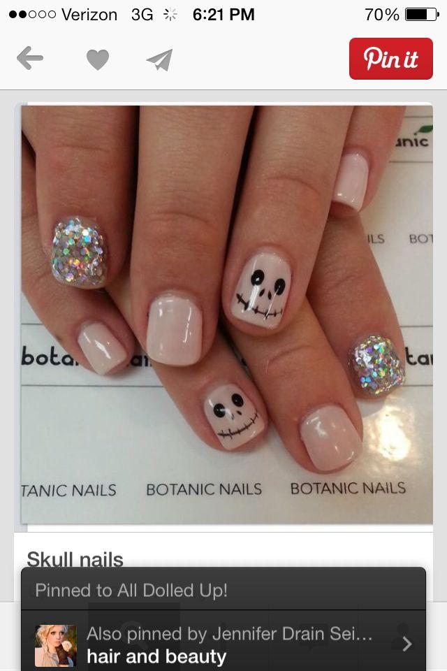Skeleton sparkle nails | Halloween nails, Halloween nail ...