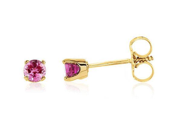 Gold Stud Earrings Prong Set Post Earring everyday Gemstone Studs Tear drop Studs Pink Onyx Stud Earrings October Birthstone Earrings