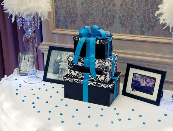 Gift Table Wedding Ideas: A Bold Black, White And Turquoise Wedding In Alliston