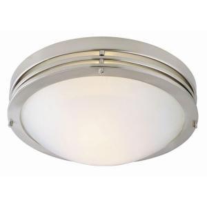 Design House 2 Light Satin Nickel Ceiling Light With Alabaster