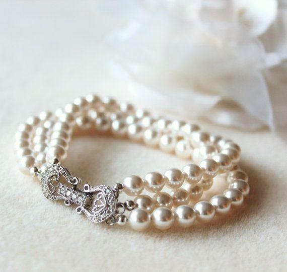 Pearl Bridal Bracelet, Pearl Wedding Bracelet, Three Strand Swarovski Crystal Pearl Bracelet, Pearl Bridal Jewelry For Brides B102 Raphaela #pearljewelry
