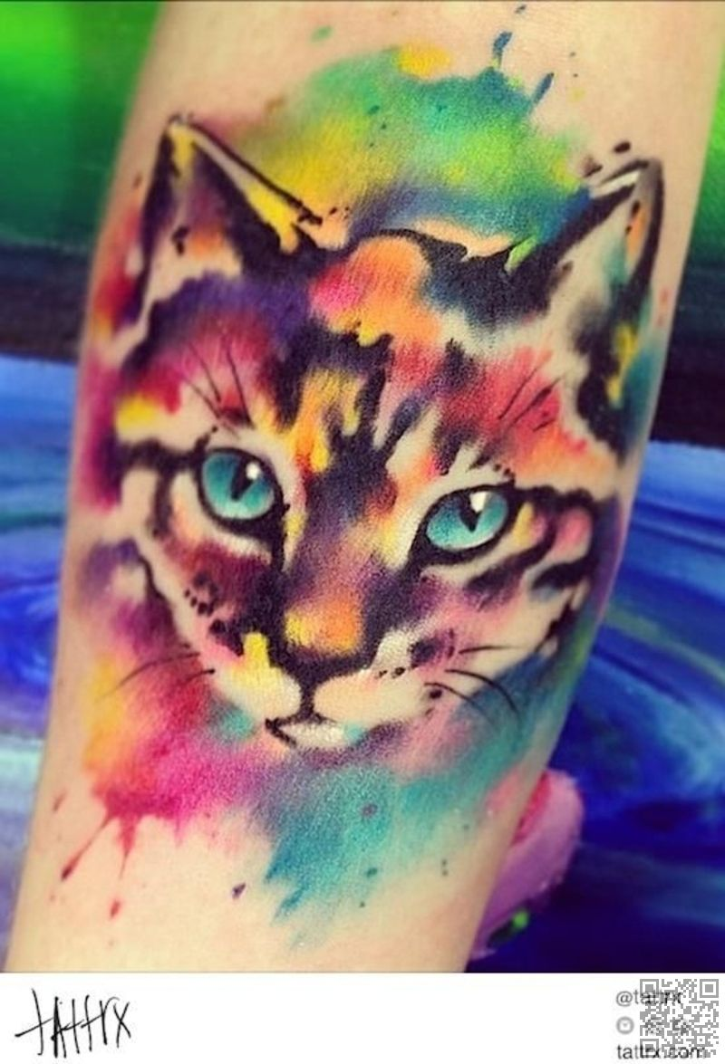26 Colorful Cat 28 Animal Tattoos You Ve Got To See To Believe Lifestyle Watercolor Cat Tattoo Designs Watercolor Cat Tattoo Dog Tattoos