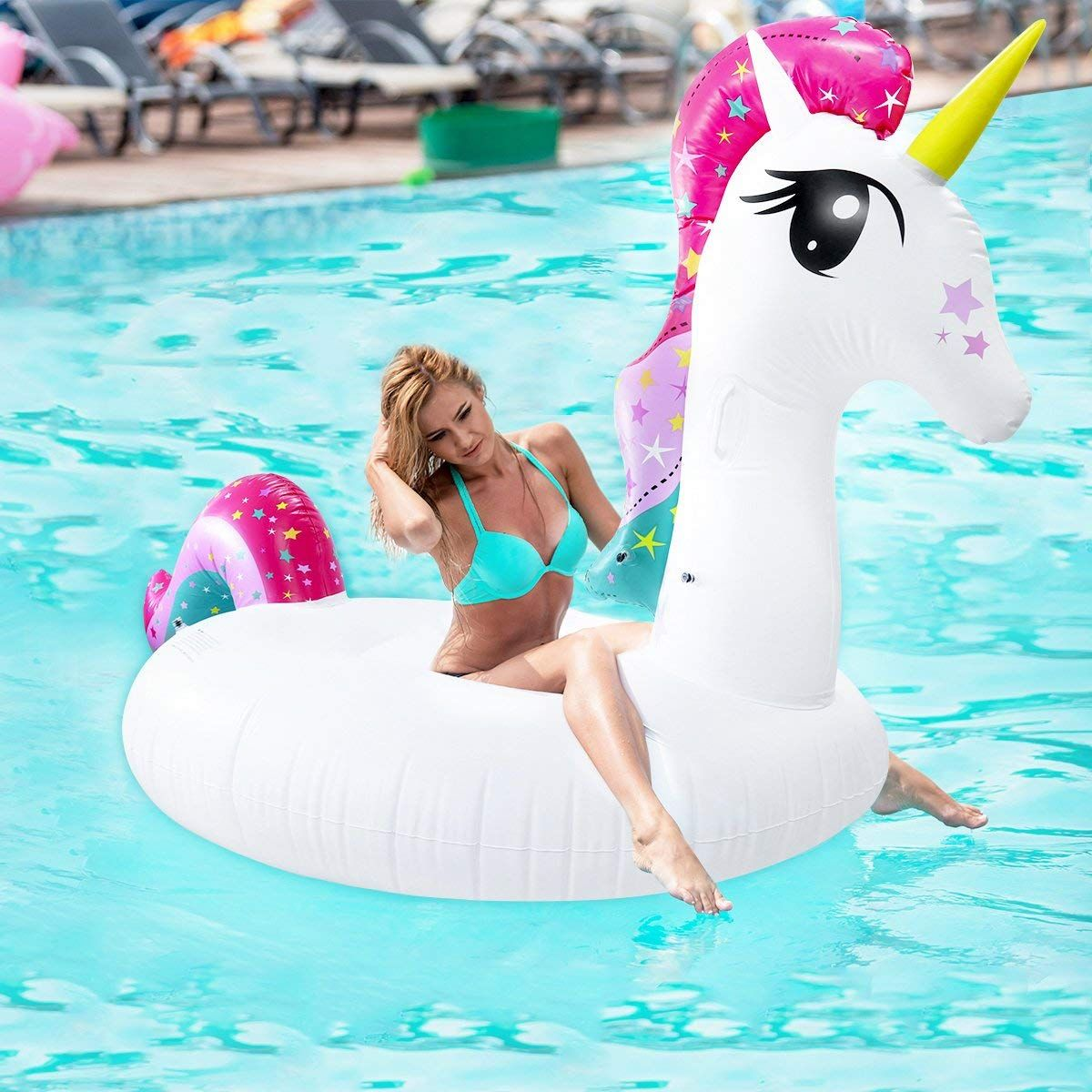 Inflatable Giant Unicorn Floating Rideable Swimming Pool Toy Float Raft Beach