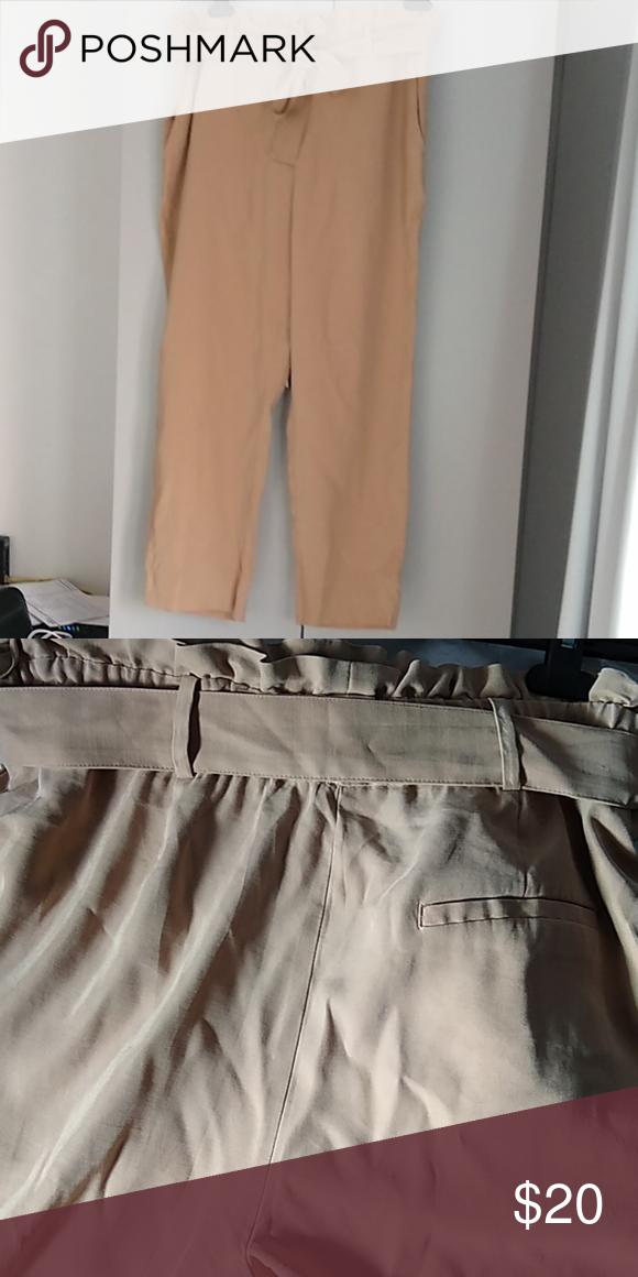 Zara belted camel tan trousers Zara belted camel t