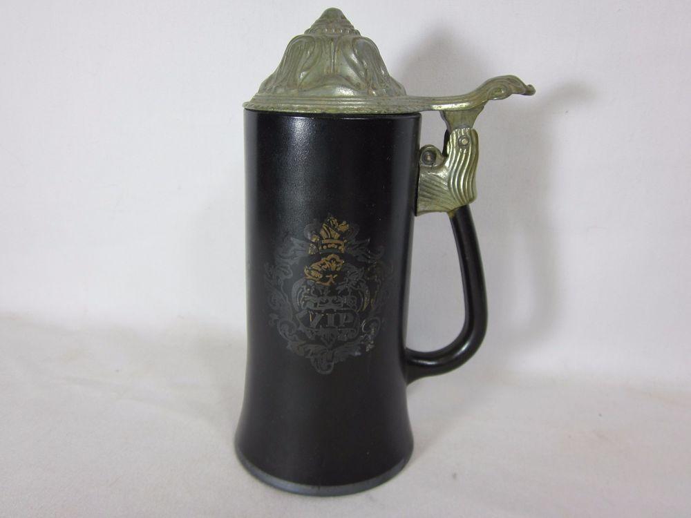Beautiful Vintage VIP Princess House Beer Stein - BLACK WITH PEWTER TOP