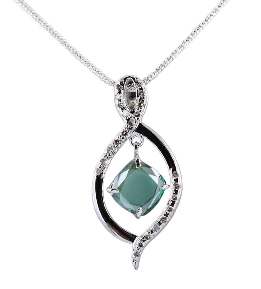 2 25 Ct Earth Mined Blue Diamond Pendant With Diamond Accents Black Diamond Jewelry Pendant Diamond Pendant