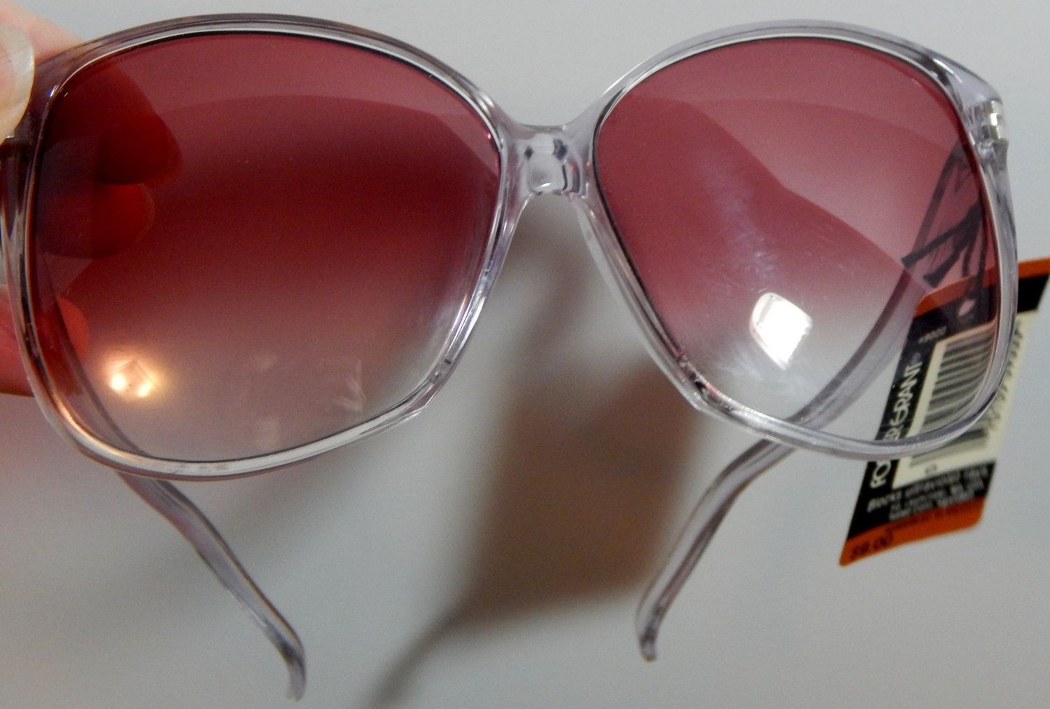 21d536c54c Vintage Oversized Foster Grant Tinted Sunglasses Dead Stock with Tag Pink  Purple Shades Lens by OffbeatAvenue