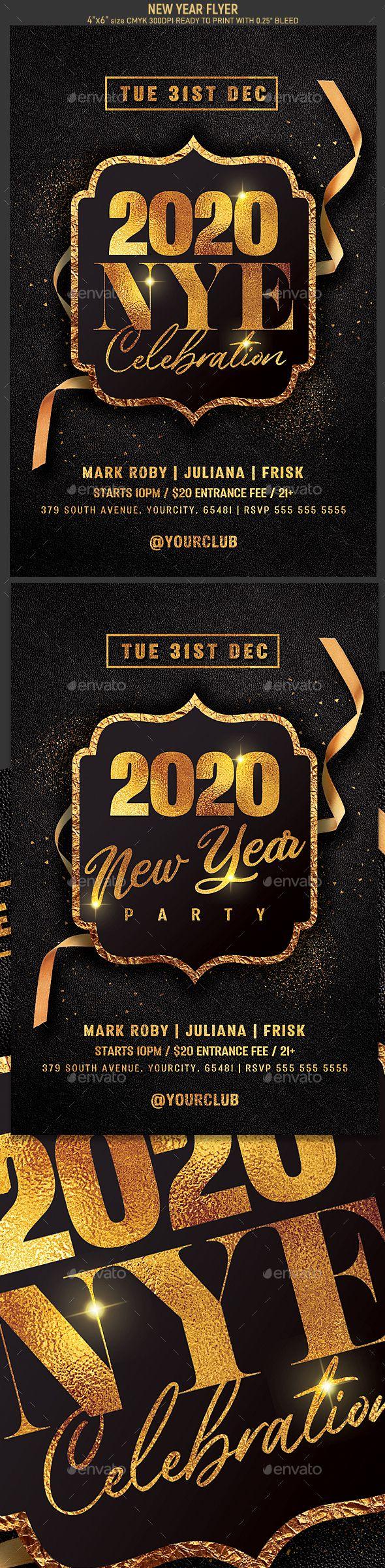 New Year Flyer Flyer, Print templates, Christmas flyer