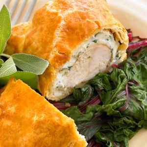Puff-pastry wrapped chicken