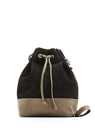 MANGO TOUCH - Leather suede combi handbag