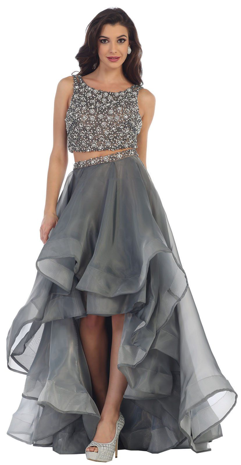 ffb590b5a3a Royal Queen RQ7486 Two Piece Semi Formal Dance Dress 6 Charcoal Nude    To  view further for this item