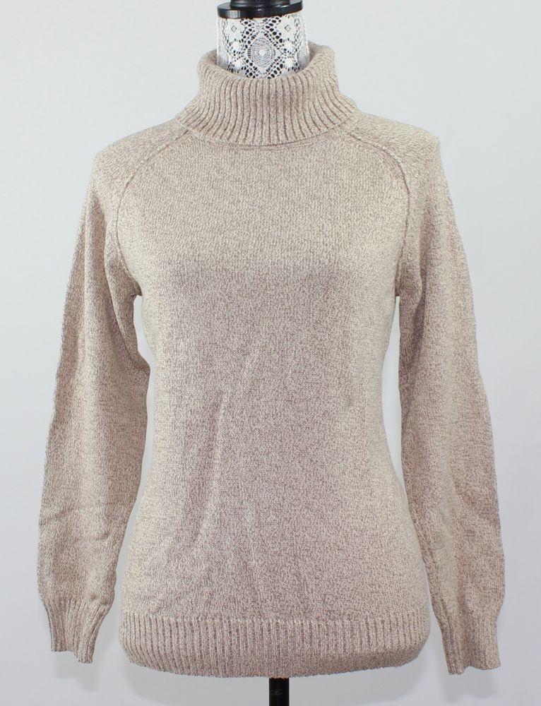 Karen Scott Womens Sweater Size S Beige Tan Long-Sleeve Turtleneck 100% Cotton  #KarenScott #TurtleneckMock