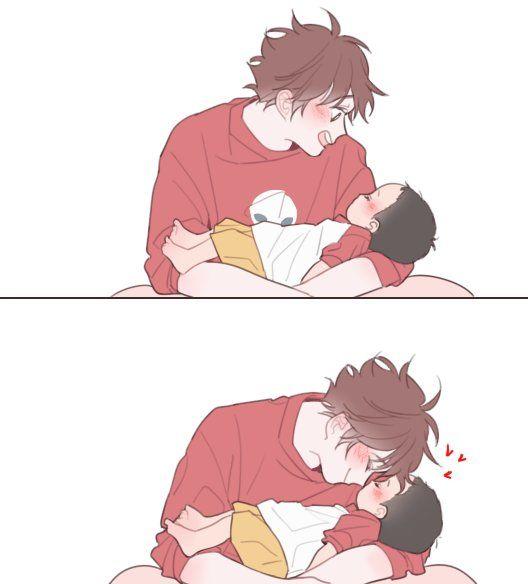 Oikawa and baby Kageyama! That too cute! >~<   haikyuu