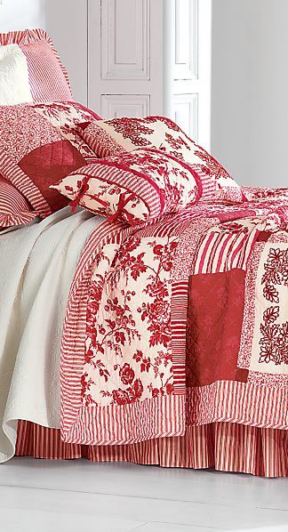 red and white quilt bedding, blanket & pillows