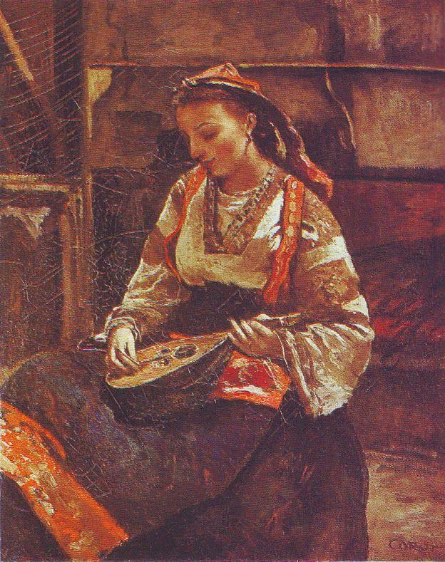 Camille Corot, Italienne assise jouant de la mandoline, ca. 1865-70