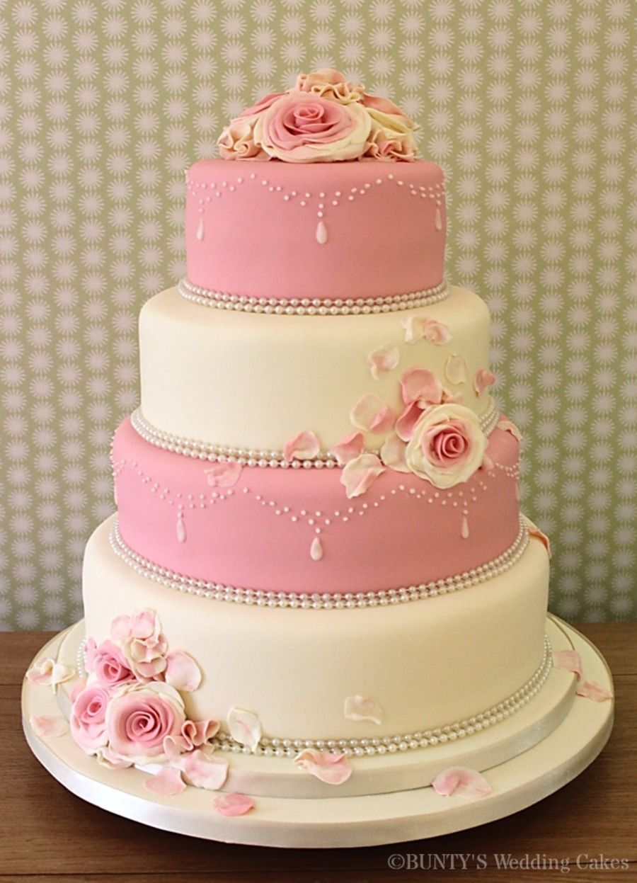 Pink and Ivory Wedding Cake | Cookie Designs/Weddings | Pinterest ...