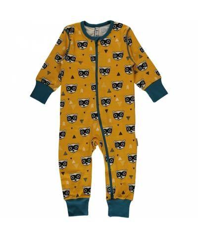 bea44bb80 Maxomorra Plus Jumpsuit Zipper Zipsuit Bandit Raccoon Wasbeer