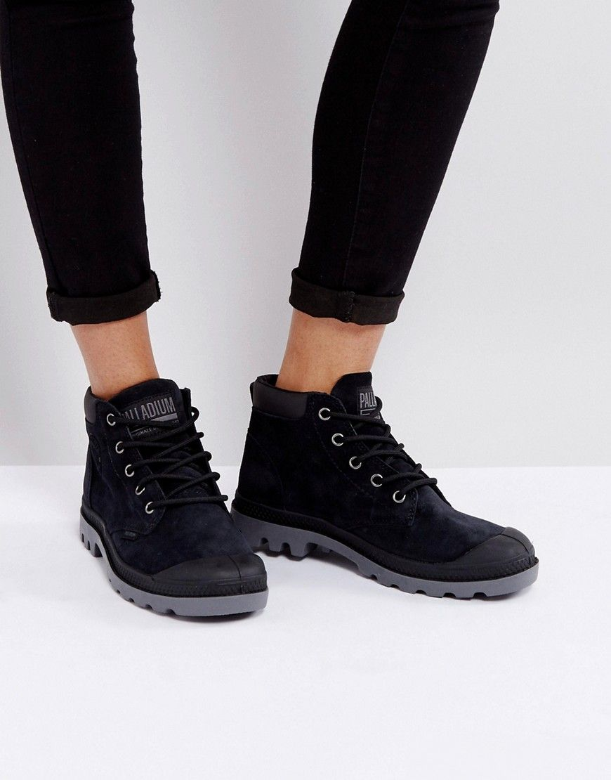 c005a3bce34 PALLADIUM PAMPA BLACK LOW CUFF SUEDE FLAT ANKLE BOOTS - BLACK.  palladium   shoes