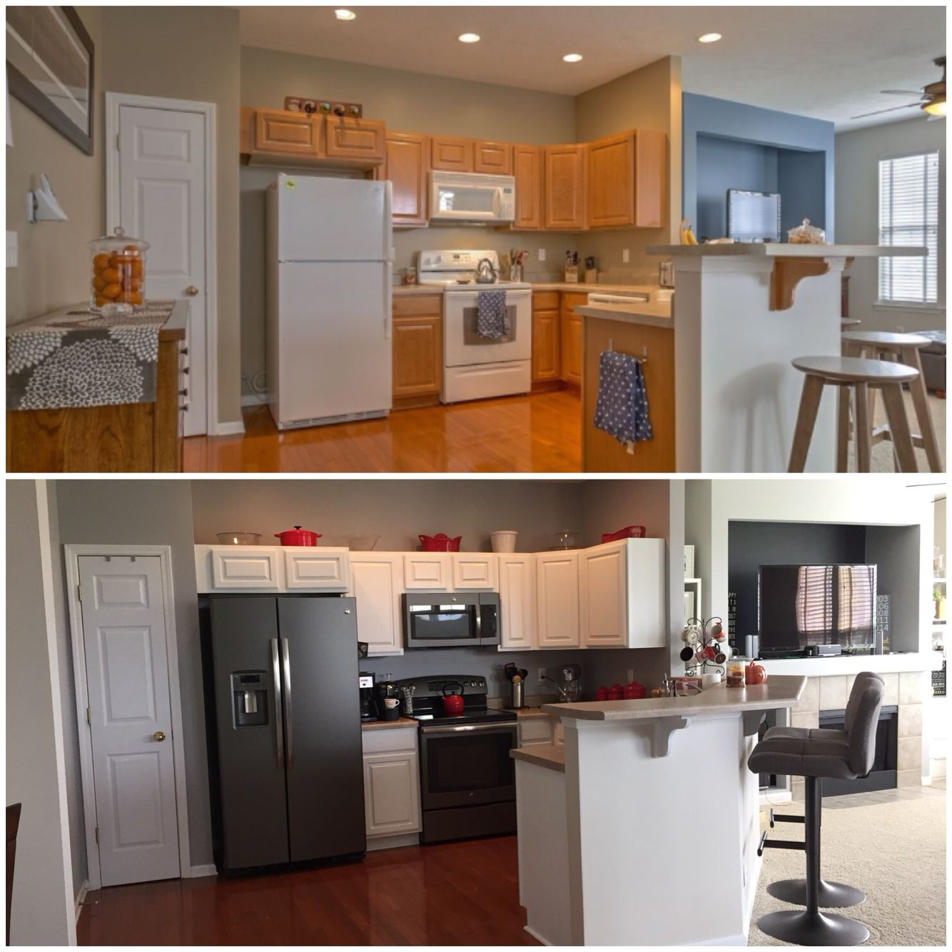 Grey Kitchen Cabinets And White Appliances: Before & After Oak Cabinets To White Cabinets White Appliances To The New Slate Gray Appliances