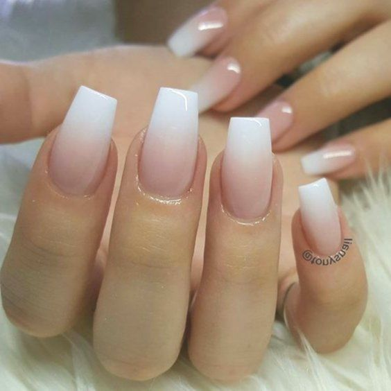 White Pink Ombre Acrylic Fingernails Manicure French Tip Square Shaped Lon Longnails Lo Square Acrylic Nails Ombre Acrylic Nails White Acrylic Nails