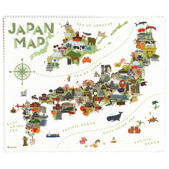 Illustrated map of Japan | ✖ Maps ✖ in 2019 | Map, Map design ...