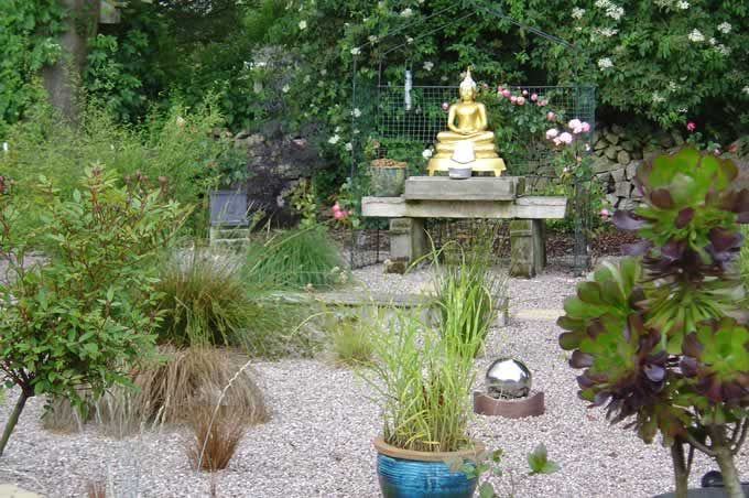 The Buddha Statue And Garden For Sitting Meditation And Walking Meditation