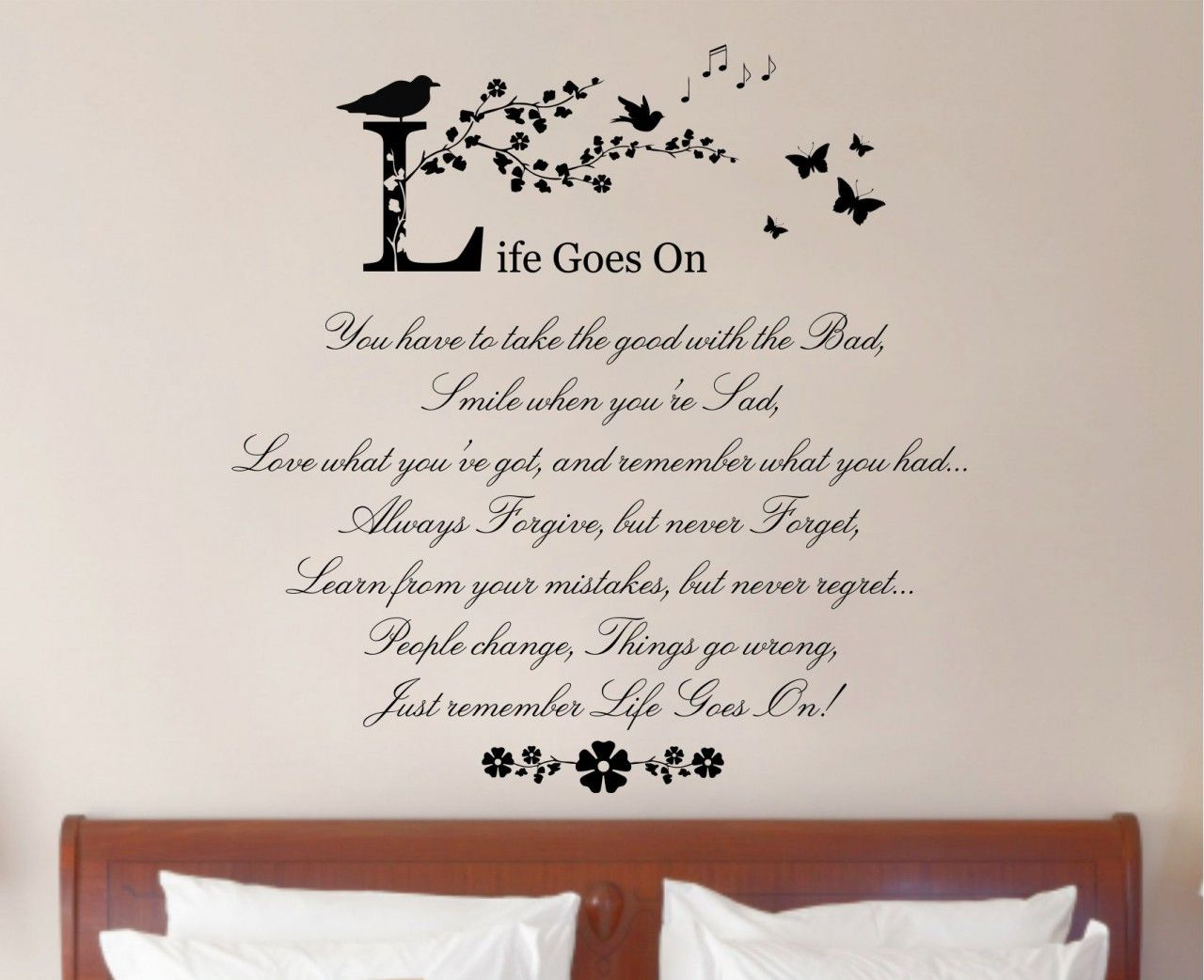 Bedroom wall art quotes - Life Goes On Quote Vinyl Wall Art Sticker Decal Mural Home Wall Decor Living Room Bedroom Wide X High