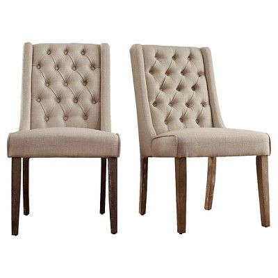 Set Of 2 Old Town Wingback Button Tufted Hostess Chair Wood