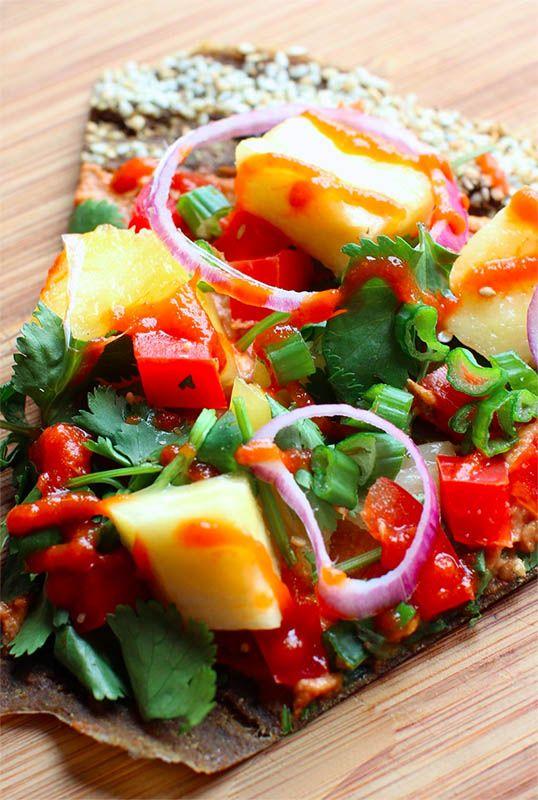 Cilantro Veggie Pulp Pizza (raw, vegan)