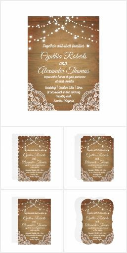 Rustic Wood Invitation Background With Lace And String Lights Ad