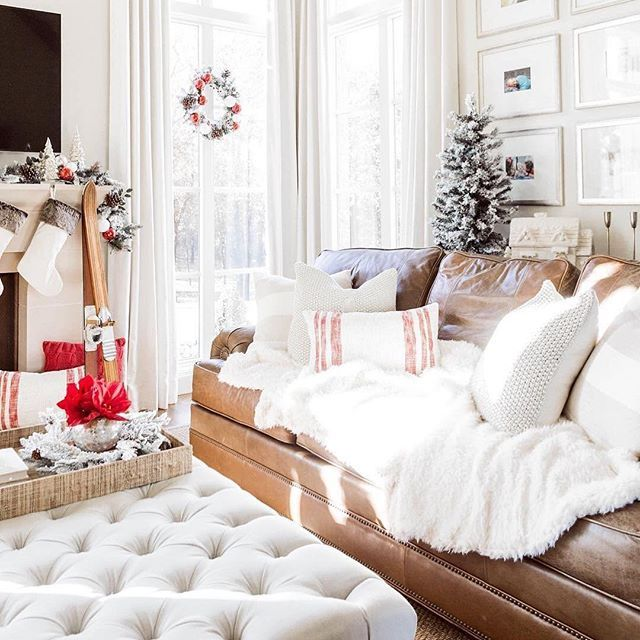17 Amazing Christmas Decorating Ideas For All Rooms: Cozy Up With Pops Of Red And Faux Fur Accents. Tap Image