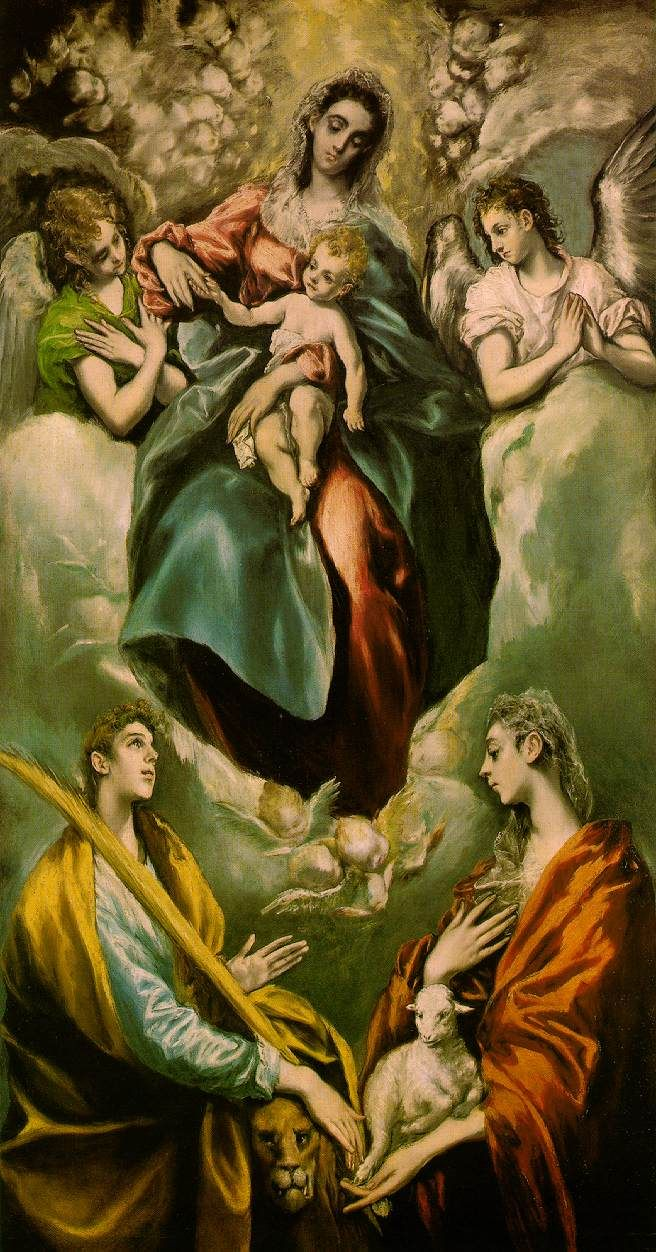 Madonna and child with st martina and st agnes el greco