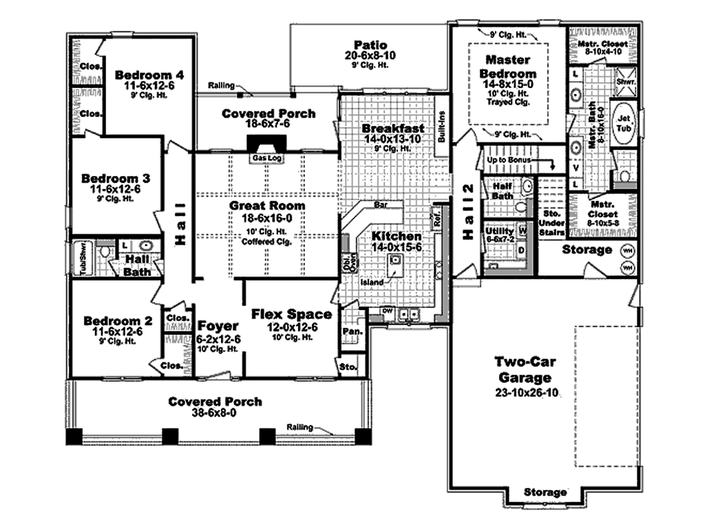 Craftsman Style House Plan 4 Beds 2 5 Baths 2400 Sq Ft Plan 21 295 House Plans One Story House Plans Floor Plans Ranch