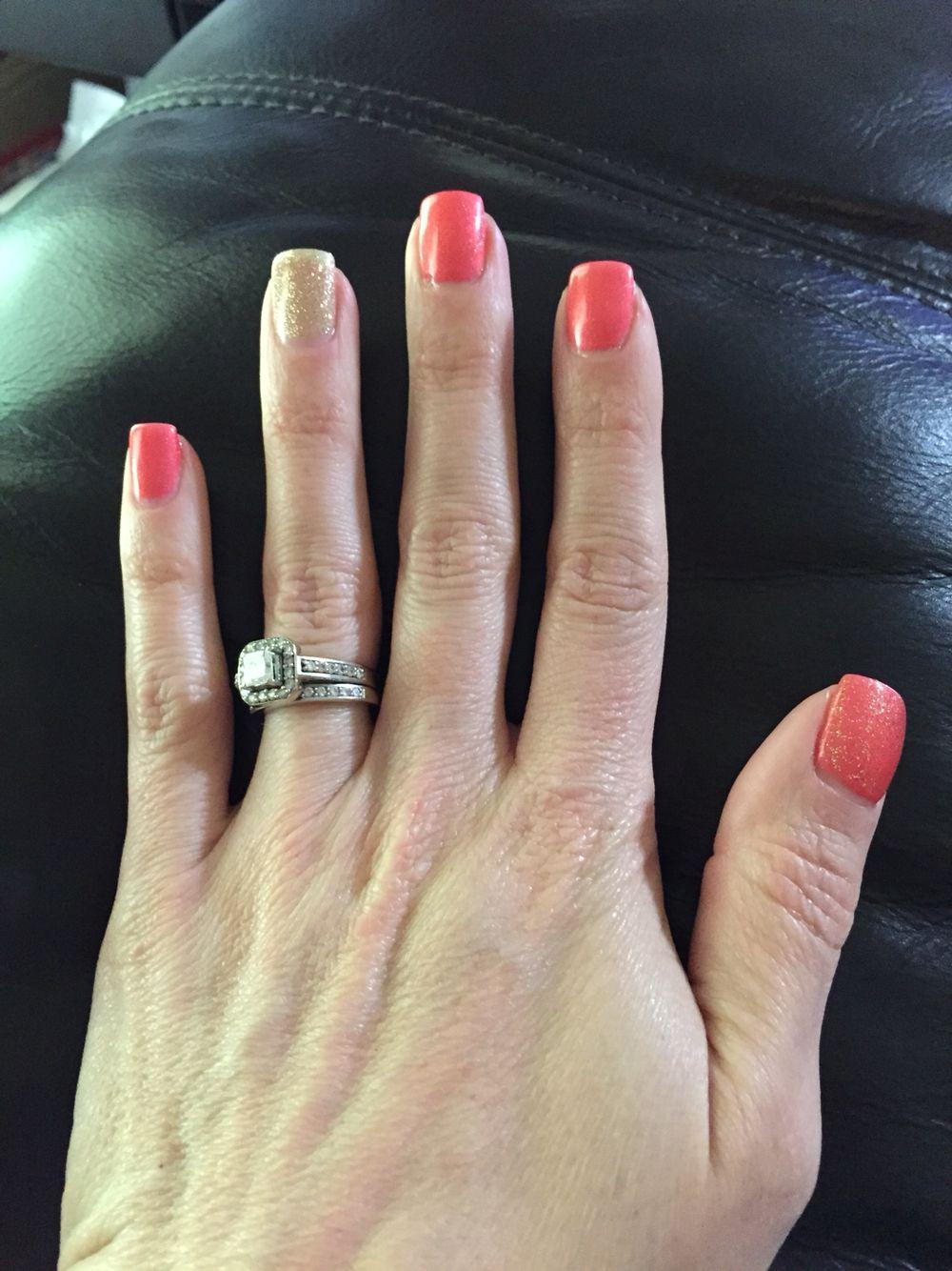 Kiara Sky Cocoa Coral And Pink Gellac Luxury Gold Coral Nails Gel Nails At Home Fun Nails