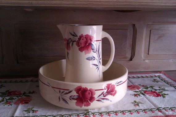Wash Stand Bowl and Pitcher, French Art Déco Wash Jug and Basin