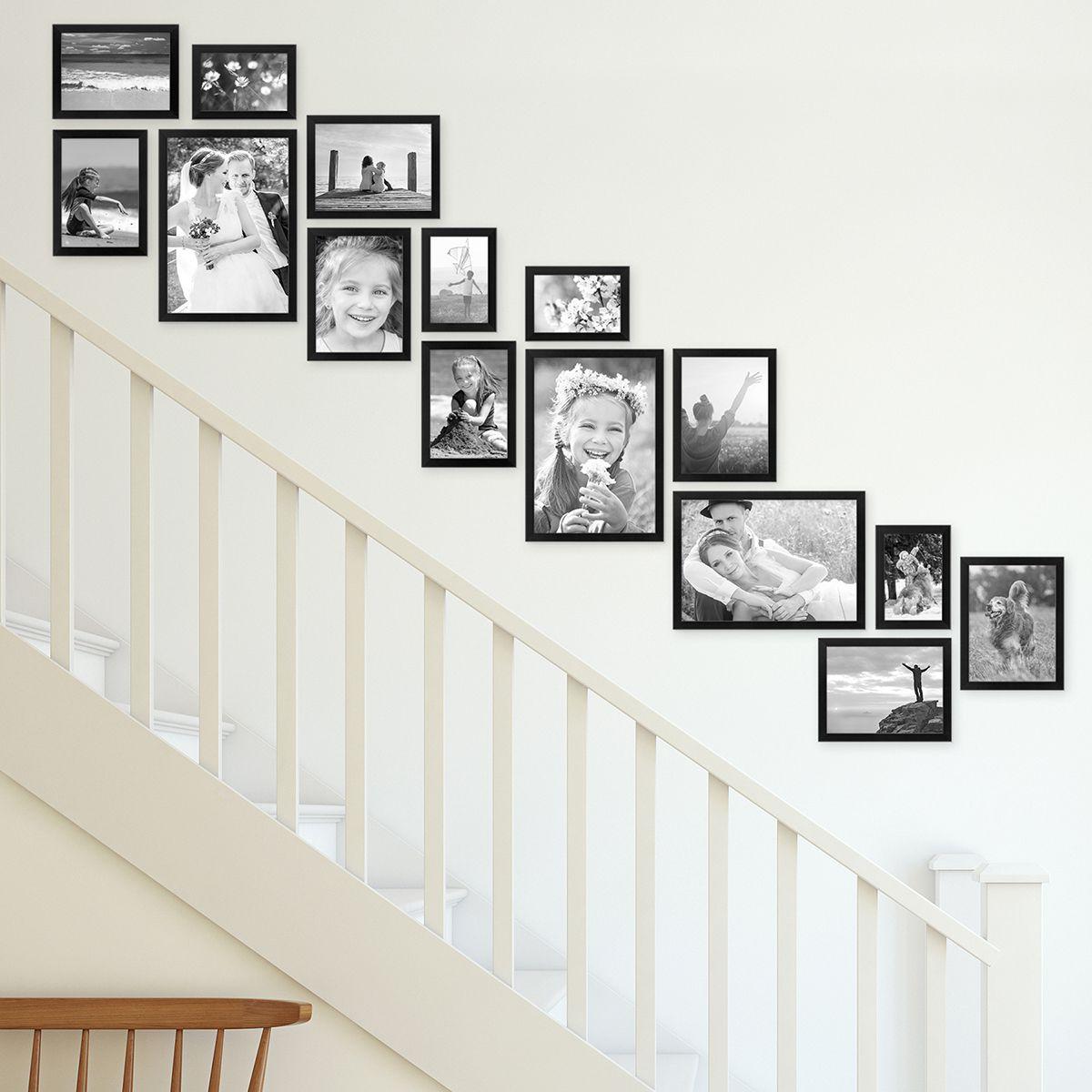 Wandgestaltung Treppenaufgang Gestalten: 15er Bilderrahmen-Set Für Treppenhaus / Treppenaufgang