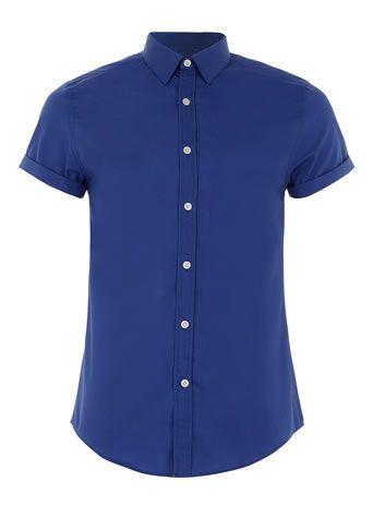 COBALT BLUE SHORT SLEEVE SMART SHIRT - Men's Shirts  - Clothing