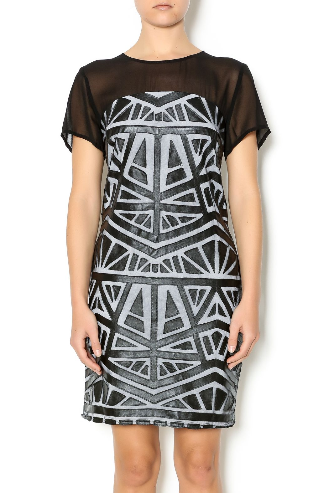 Lumiere black white midi dress short sleeve dresses vegan leather